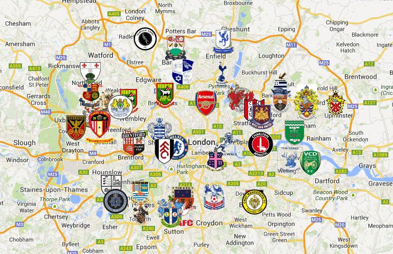 mappa degli stadi di Londra
